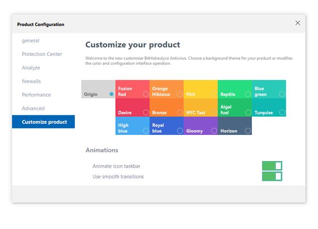 Antivirus Product configuration window using Bunifu Controls