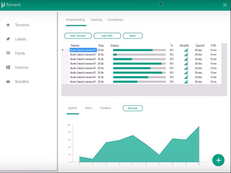 utorrent demo prototype with Bunifu Area Chart Control