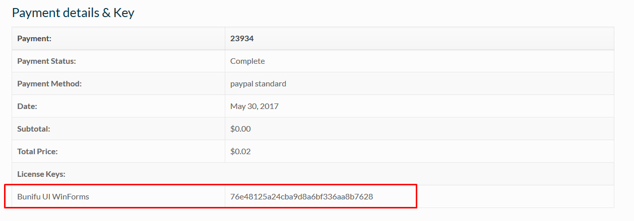 Payment details and key