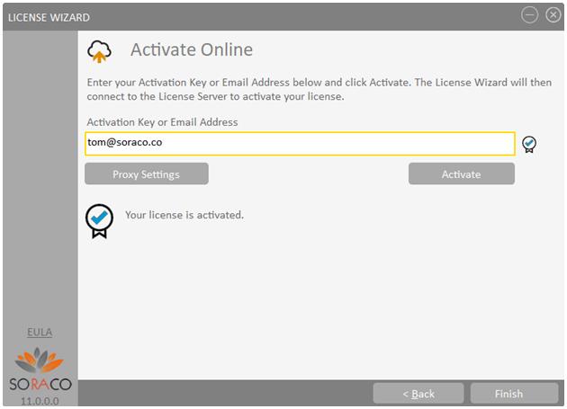 Soraco license activation window