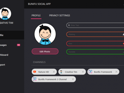 Bunifu Social App UI Demo