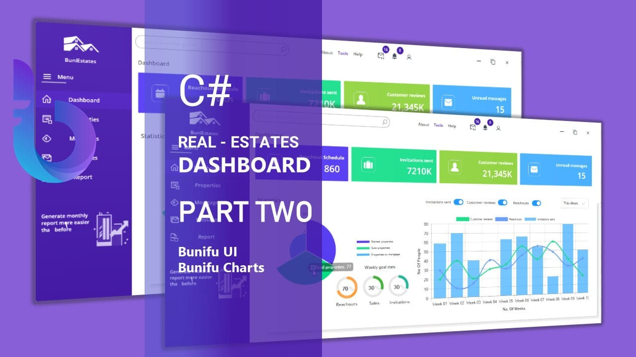 Clean stunning real estate C# UI dashboard inspiration made with Bunifu UI and BuniCharts - Part 2
